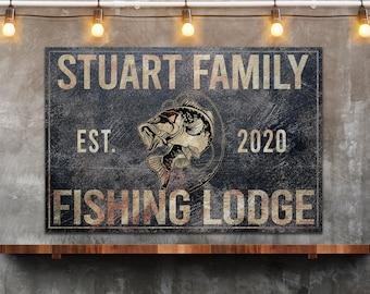 Fishing Sign, Fishing Lodge, Farmhouse Sign, Custom Canvas Sign, Family Name Sign, Farmhouse Decor, Tackle Shop, Man Cave, Bass fishing