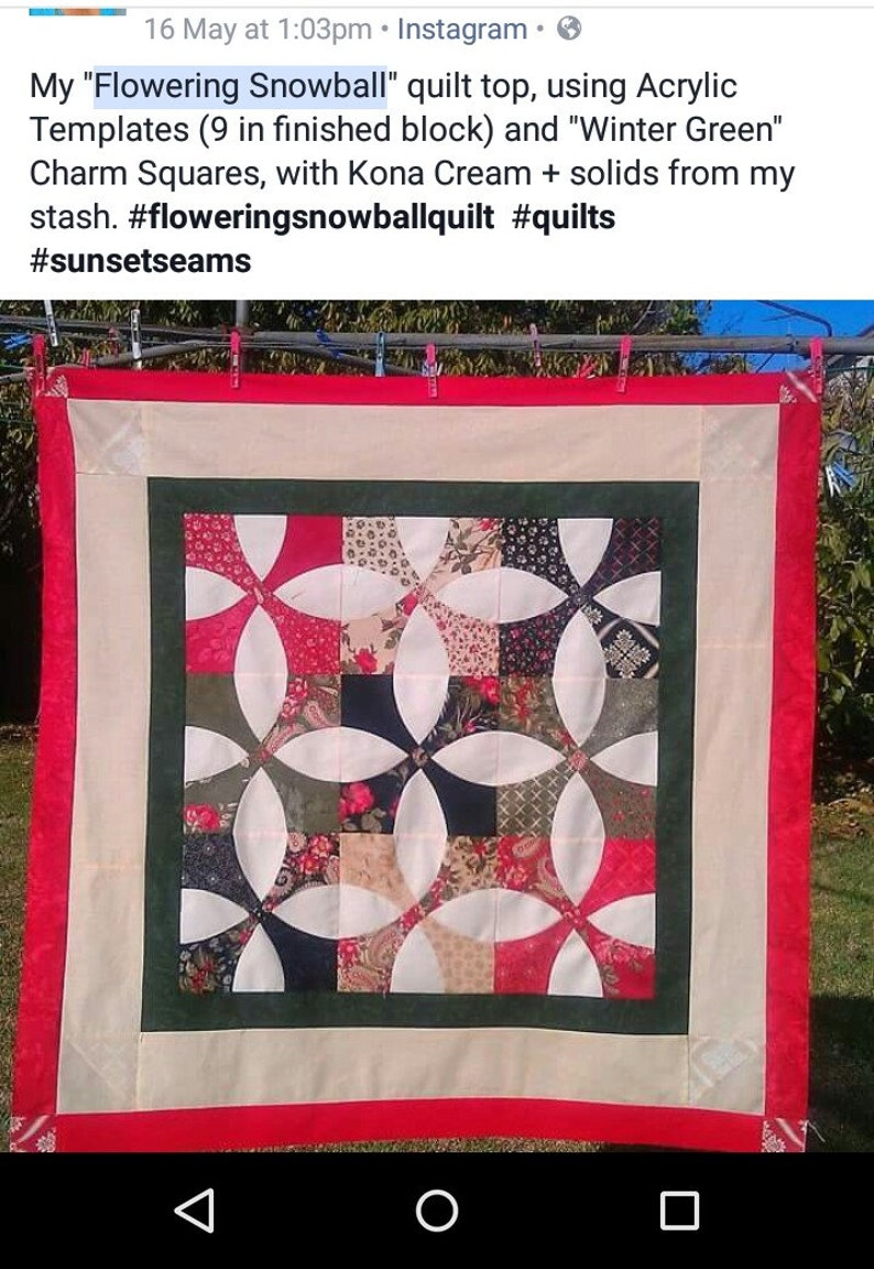 Acrylic Template ~ CLAMSHELL QUILT ~ by Come Quilt With Me