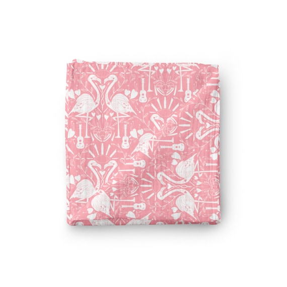 JOYFUL BABY GIRLS ORGANIC COTTON  RECEIVING BLANKET PALE PINK NEW