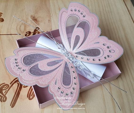 Invitacion Tarjeta Con Alas De Mariposas Papillon Para Bodas Bautizos Bautismo Cumpleaños Nacimiento Fiesta De 1 Año Cumpleanos Quincenera