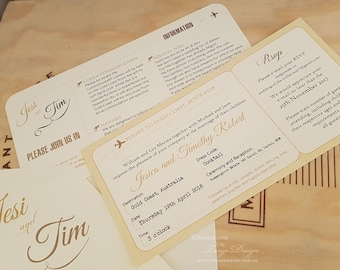 Airline ticket invitations | Vintage World MAP Invitation | Air Plane invites | Wedding Itinerary | Boarding Pass invite | Around the world
