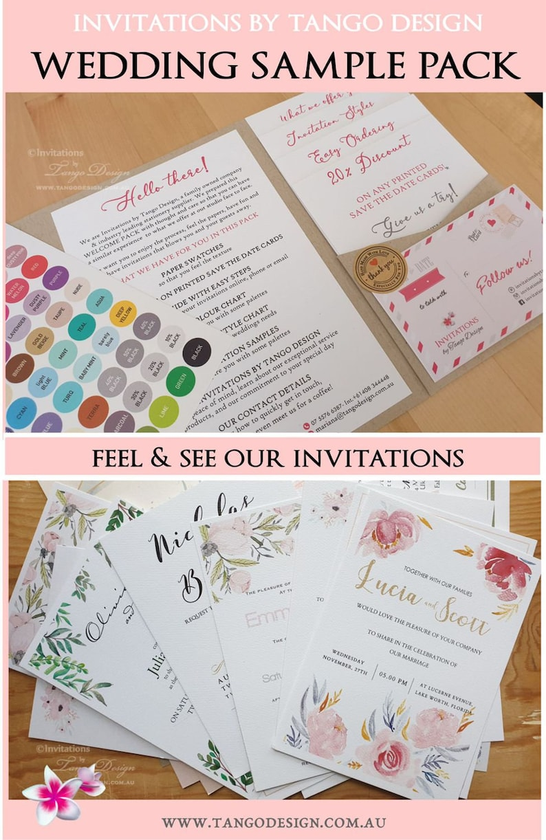 Wedding invitation sample mock up pack  3 Invite samples: UK US Australia  Invitations cards