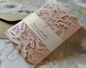 BLUSH Wedding invitation set. Lasercut invitations w rsvp cards. White, PINK and gold LASERCUT invites. Rose peach floral lace design suite