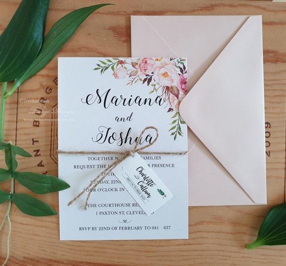 Printed Invites Simple Blush Wedding Invitations with envelopes