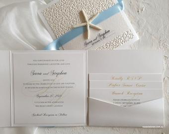 Beach Wedding Invitation set. Wedding invites beach theme.  Etsy elegant weddings. Starfish design invitations & luxury Invites pocketfold