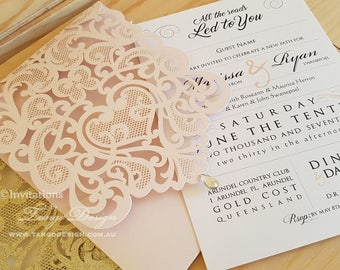 The wedding invitation. Set of Cards and pockets. Custom wedding theme ideas. Romantic invites with wedding ceremony words, colors and style