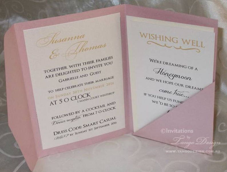 Modern Wedding Invitation Pocketfold Set With Rsvp Cards