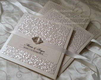 LUXURY Wedding Invitations w brooch BESPOKE invitation set. Ball elegant pocket.  Custom crystal. Luxurious wedding Invites design 3 cards
