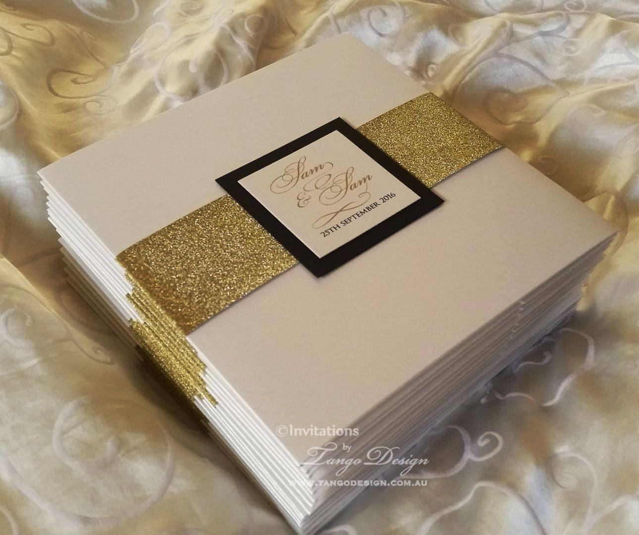 Luxury Pocketfold Wedding Invitations: LUXURY Wedding Invitations Gold Glitter Invite Pocketfold