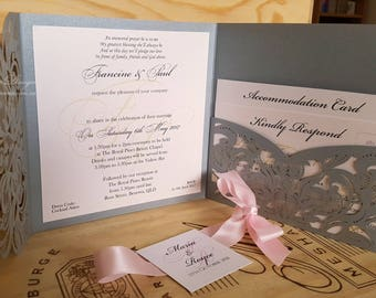 Silver and Blush Pink wedding invitation set. Blush and grey pearl invites. Luxury Lasercut lace pocketfold envelope. rsvp & Reception cards