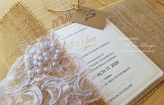 burlap and lace wedding invitations rustic invitation shabby etsy