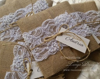 BURLAP and LACE wedding Invitations. RUSTIC invitation. Shabby chic wedding.  Burlap lace invites. Country, boho. Hessian invite beads lace