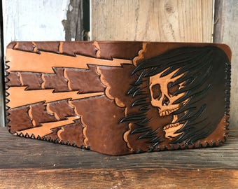 Reaper Wallet, Leather Wallet, Personalized Wallet, Leather Billfold, Black Leather Wallet, Holiday, Gifts for Him, Handmade Wallet, Leather
