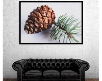 Digital download pine cone and needles minimal photograph, fall, winter home decor, instant rustic wall art, nature photography, cabin decor