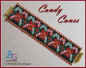 CANDY CANES Peyote Cuff Bracelet Pattern