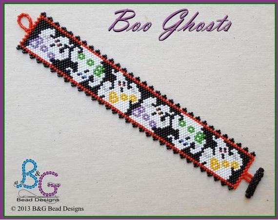 pdf Digital Download HAPPY GHOSTS Peyote Cuff Bracelet Pattern
