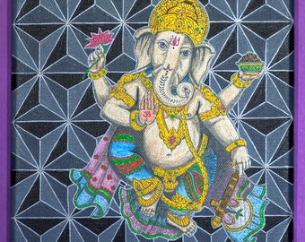 Ganesha, Original Acrylic Painting on Canvas, Sacred Geometry