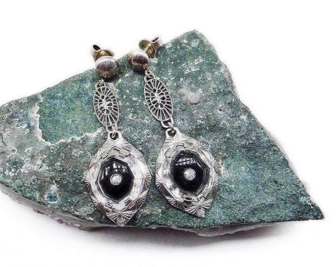 Exquisite vintage Edwardian Victorian Revival Sterling Filigree Clear and Jet Black Glass faceted Crystal accented  Camphor Glass Earrings
