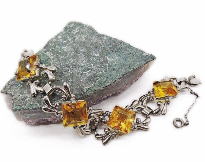 Vintage Art Deco 1930s Sterling Silver faceted Topaz Yellow Rhinestone signed Link Bracelet