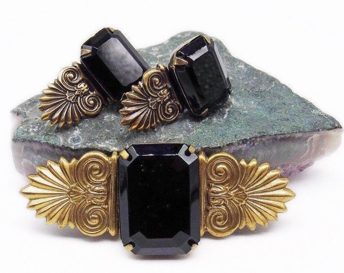 Vintage Sadie Green Art Deco Revival antiqued brass faceted Jet Black Crystal Brooch and Earrings Set