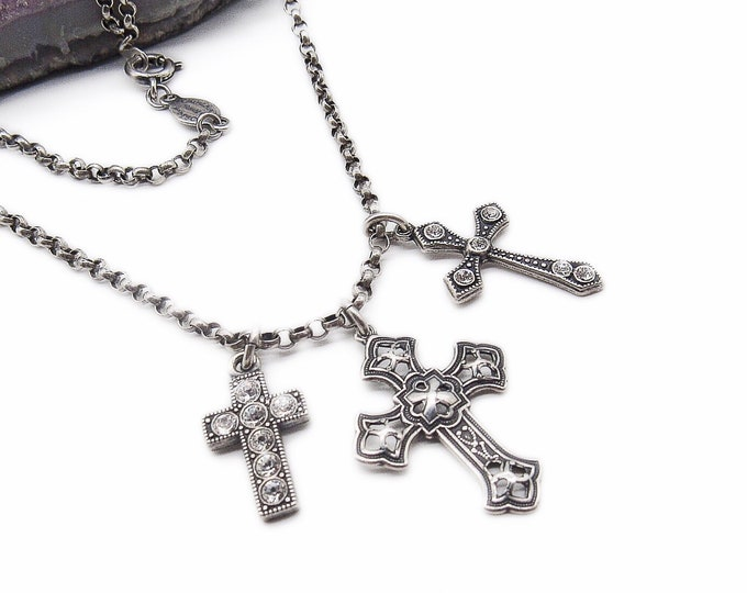 Vintage Catherine Popesco of France La Vie Parisienne sterling silver plated Swarovski Crystal Crucifix crosses  signed pendant necklace