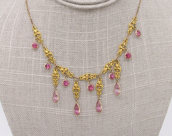 Antique Estate Victorian intricate feminine gold plated Amethyst glass paste necklace circa 1890s-1910 Beautiful !