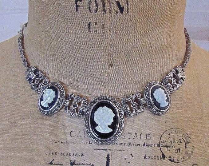 Victorian Revival vintage Sterling Silver Marcasite Jet Black Glass Mother of Pearl Cameo signed Bib Necklace