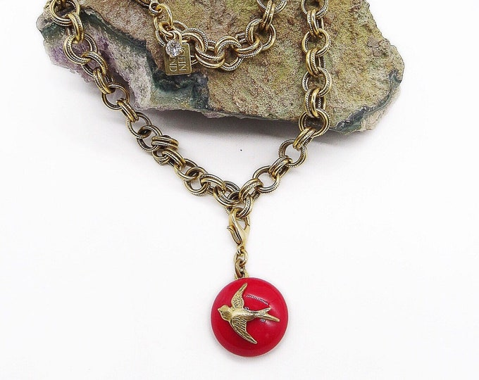 Vintage John Wind of Maximal Art retired gold tone double loop chain Red glass circle Bird accented pendant signed necklace bracelet set