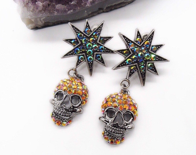 Glorious Kirks Folly vintage Halloween Gothic bling rhinestone encrusted silver tone signed sugar skull earrings FREE SHIPPING