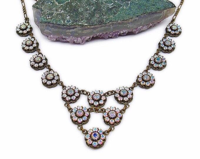 Vintage Kenny Ma San Francisco retired Victorian Revival antiqued Bronze faceted Aurora Borealis Swarovski Crystal Designer Necklace
