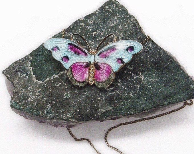 Tina Oxager of Denmark vintage sterling silver vermeil beautiful enameled signed Butterfly pendant necklace