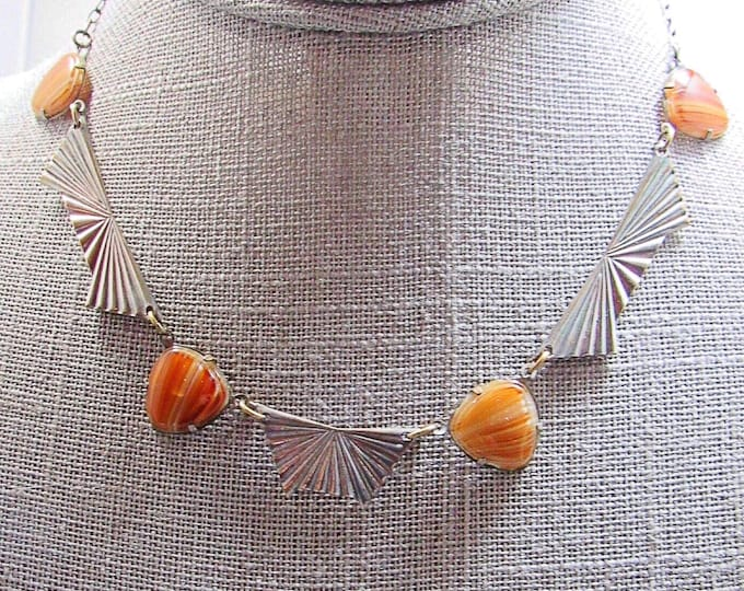 Art Deco 1940s vintage antique silver tone snap button clasp tiger eye stone panel necklace ! FREE SHIPPING !