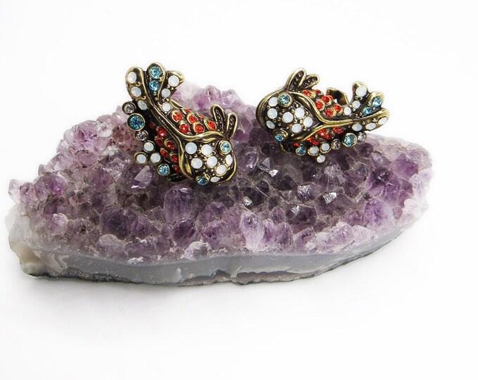 Heidi Daus retired Koi Fish Swarovski Crystal antiqued brass signed pierced statement earrings