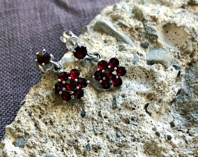 Elegant vintage Bohemian Mid Century Victorian Revival Sterling Silver faceted Rose Cut genuine Garnet accented signed  Drop Earrings