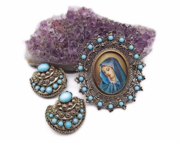 Vintage Victorian Revival 800 Silver Filigree hand painted Madonna Portrait Brooch and Earrings with Turquoise Bead accents