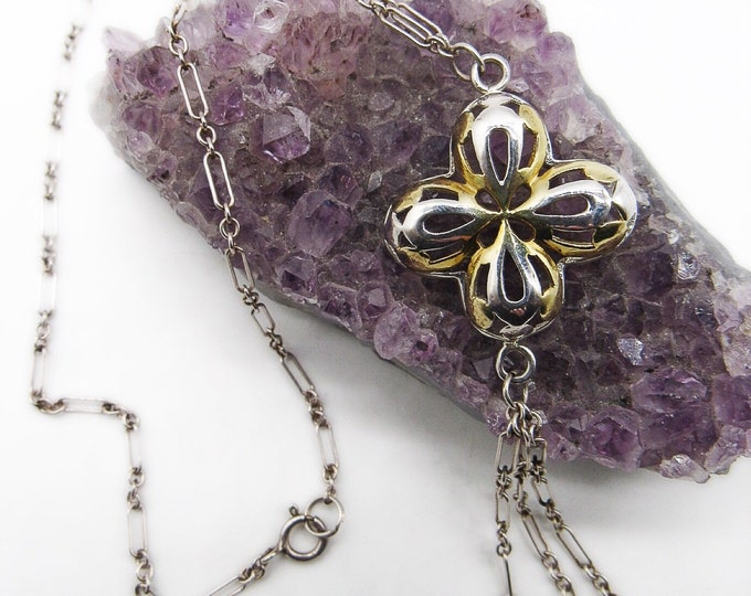 Vintage Sterling silver lariat necklace with open lattice flower multi strand drop