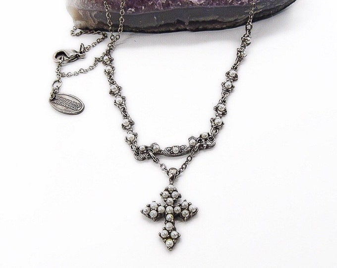 Retired Kenny Ma of San Francisco Victorian revival antiqued silver tone seed pearl vintage signed cross necklace