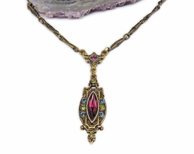 Vintage 1928 Jewelry Co. Edwardian Revival antiqued Brass tone faceted Multicolored Crystal signed Y Necklace