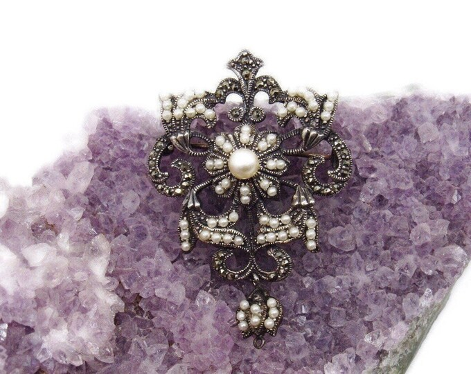 Exquisite Vintage Victorian Revival Sterling Silver Seed Pearl bead accented signed Pendant Brooch