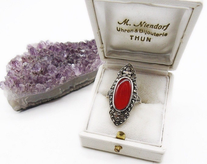 Art Deco 1930s Vintage Sterling Silver faceted Marcasite accented Carnelian Stone signed statement Ring