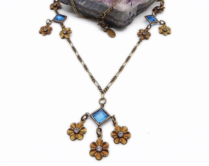 Gorgeous Glass Works Studio Ltd early vintage antiqued brass Floral design faceted Crystal signed necklace
