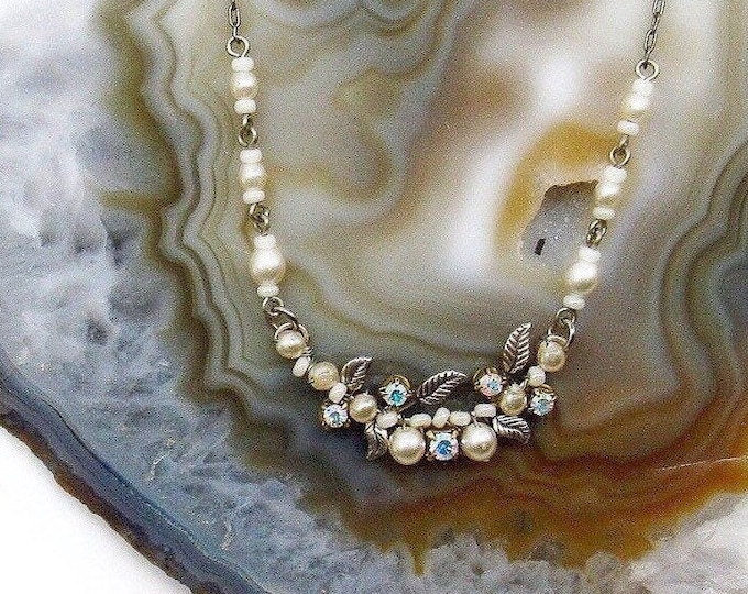 Delicate vintage handcrafted antiqued silver tone faceted Aurora Borealis Crystal Glass Pearl accented Choker Necklace