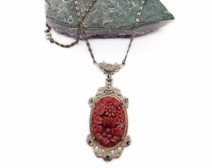 1920s Vintage Art Deco Sterling Silver Marcasite accented Molded Floral Coral Glass signed Lavaliere necklace
