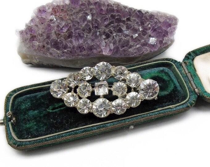 1930s Vintage Art Deco Rhodium plated faceted Diamanté Paste Stone accented Pot Metal heavy statement Brooch