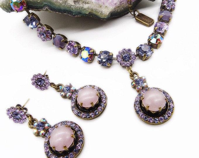 Rare Van Galz vintage retro Swarovski Crystal and cabochons signed Choker earrings demi parure