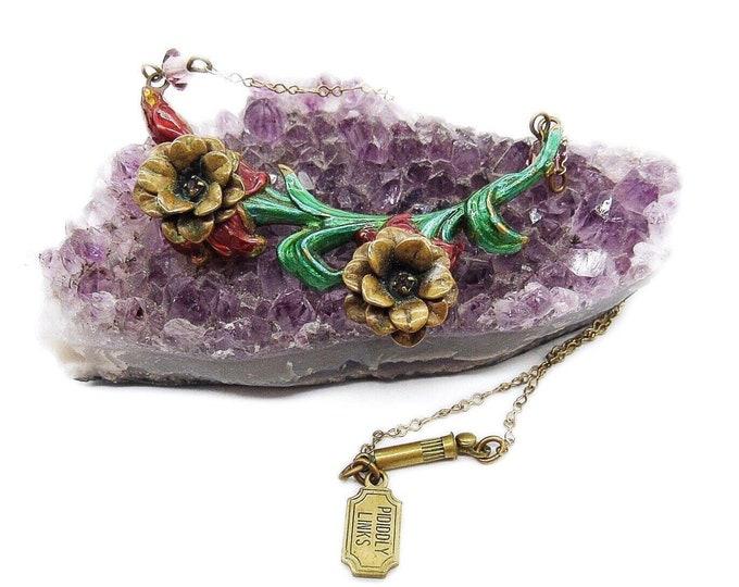 Pididdly Links Vintage Art Nouveau revival antiqued gold tone Enameled Floral motif signed necklace