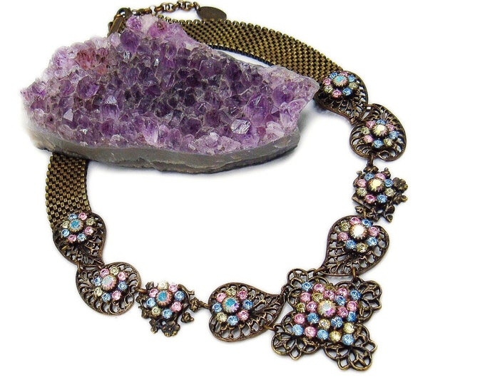 Kenny Ma San Francisco vintage Victorian Revival antiqued Bronze faceted Aurora Borealis Swarovski Crystal accented Choker Necklace