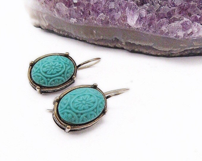 Extasia Vintage antiqued bronze Opaque Mint Turquoise German Glass floral Cameo signed designer Earrings