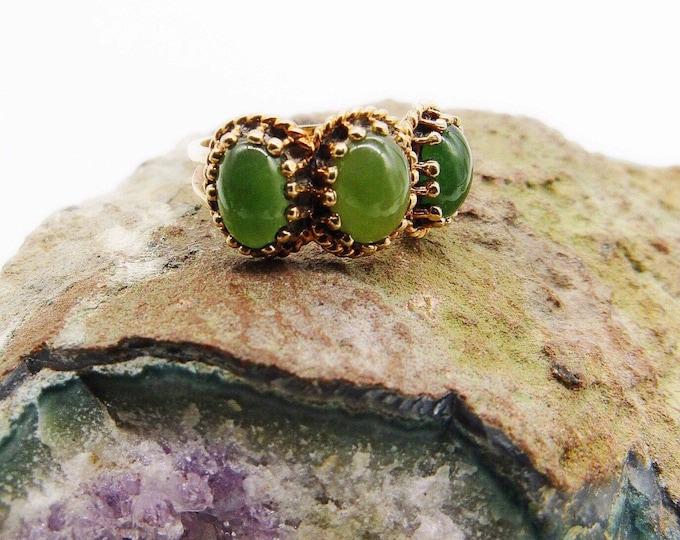 Vintage 1970s Germany 14K Gold Nephrite Jade signed size 8 Artisan Ring