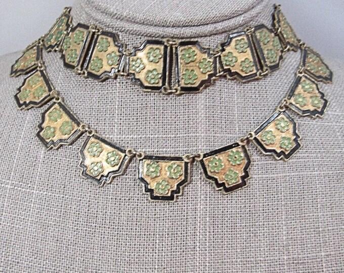 Art Deco revival vintage brass enamel floral panel necklace with matching bracelet